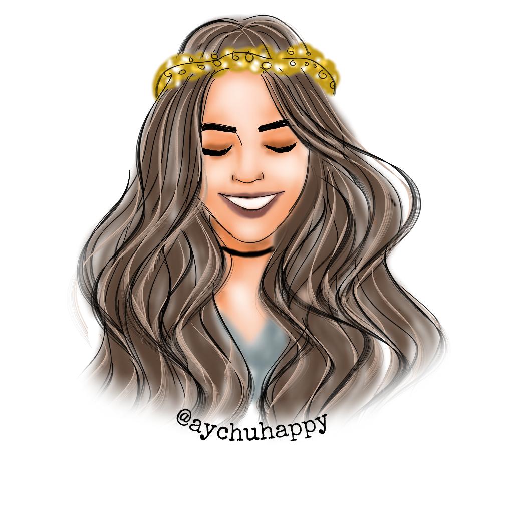 FreeToEdit drawing cute girl hair happy beautiful beaut...