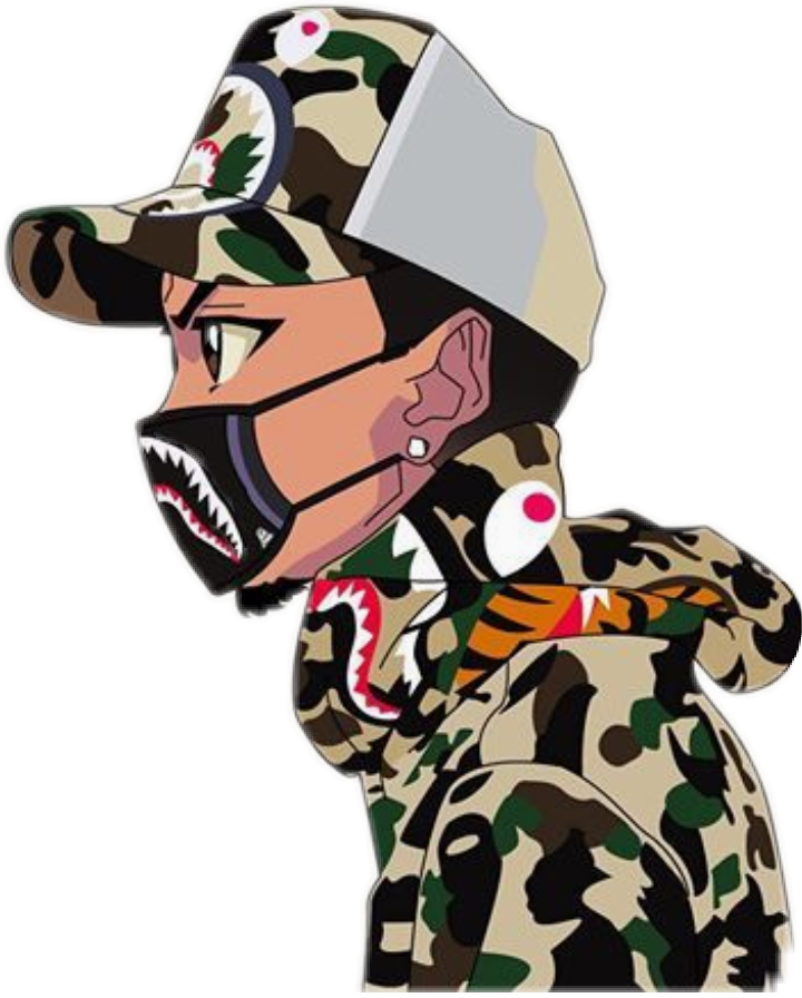 116154629 A Bathing Ape X Dragon Ball in addition Sticker Interesting Art Boondocks Beach California Swag Bape 244257491014212 moreover Goku X Nike 639925326 as well Anime Characters In Streetwear as well Bape Disney Mickey Mouse Collection. on cartoon characters wearing bape