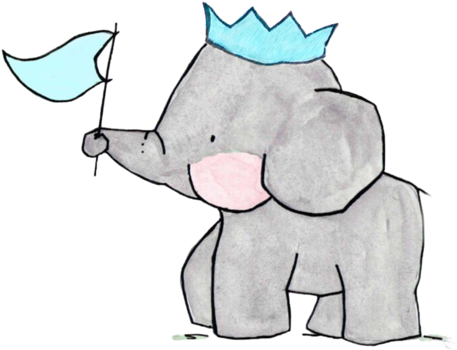 elephant family crown - Sticker by ZoeAnne