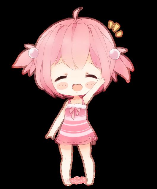 chibi kawaii cute anime girl pink pinkhair happy...