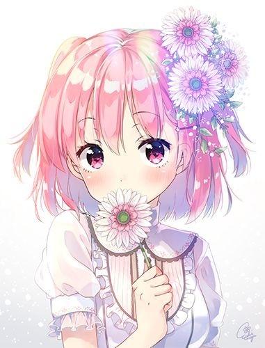 freetoedit anime girl pink kawaii cute fanart flower...