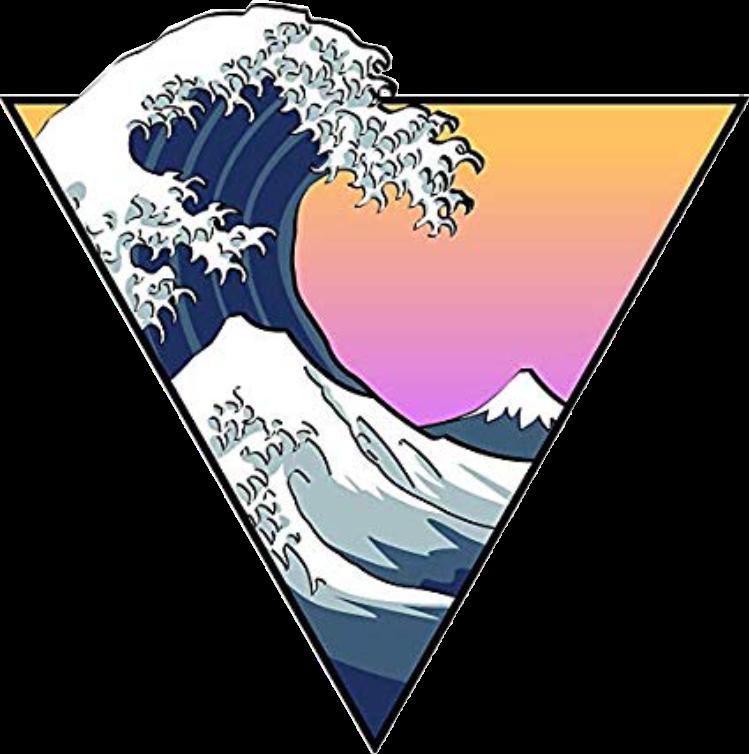 Aesthetic Sticker Sunset Wave Beach Cute Trendy Freetoe