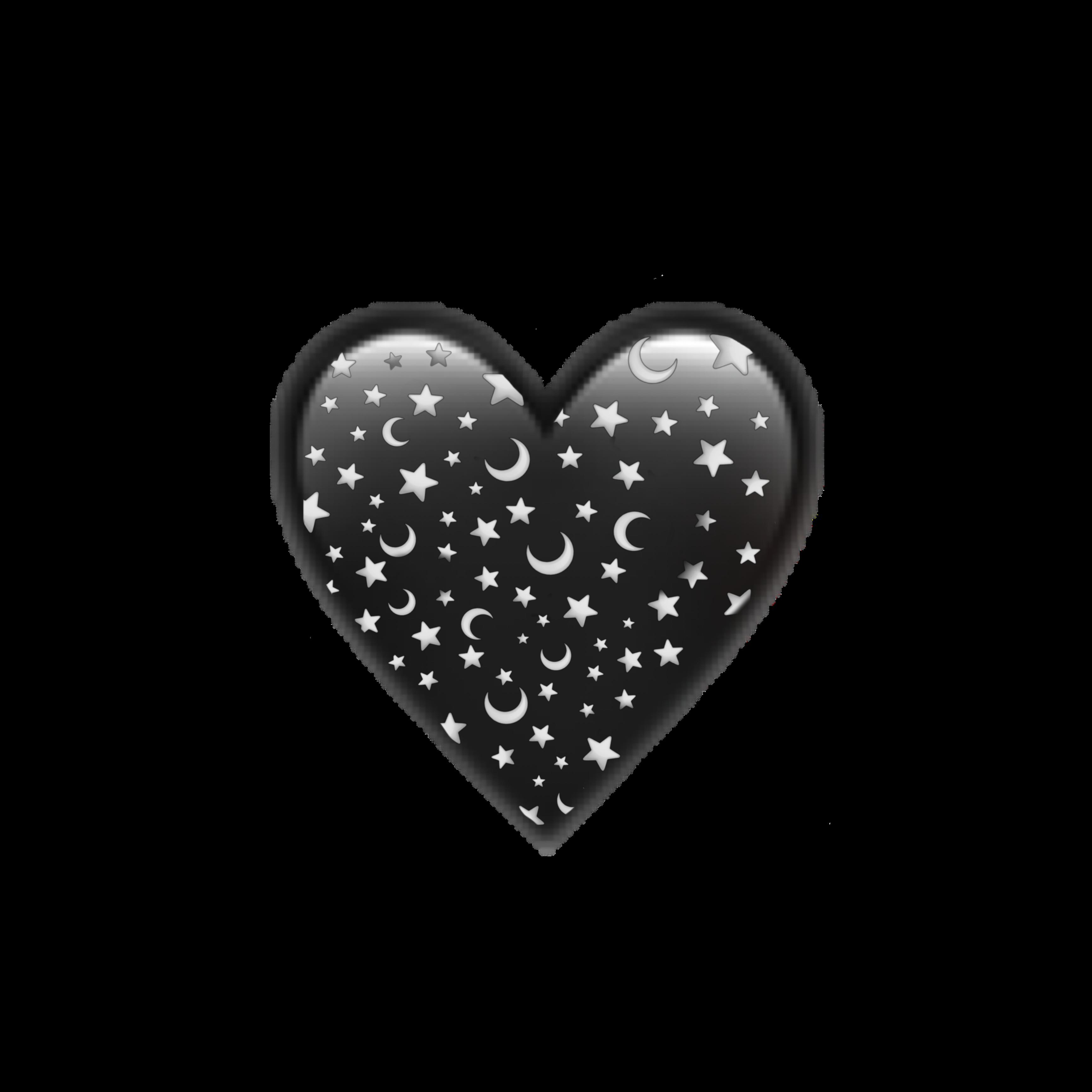 Moon Luna Heart Corazon Negro Black Estrellas Stars Emo