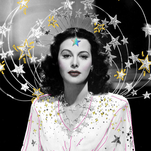 Hedy Lamarr with star stickers
