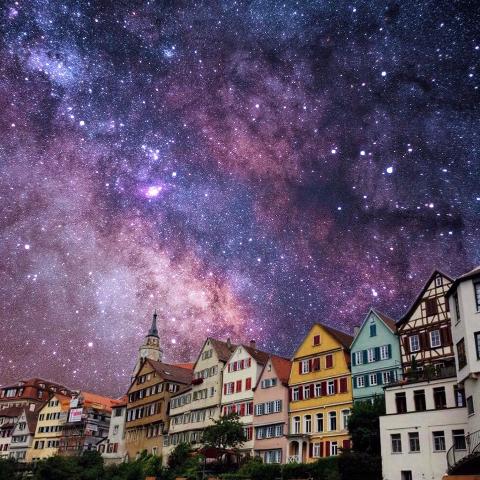 Starry background photo edit