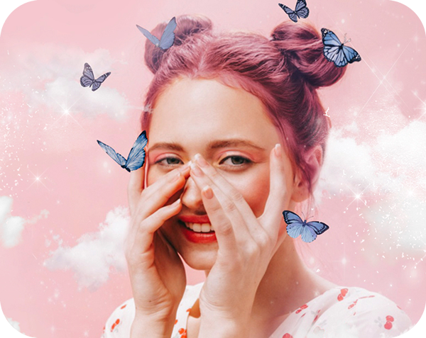 smiling pink hair girl on a pink background with white clouds and blue butterfly stickers