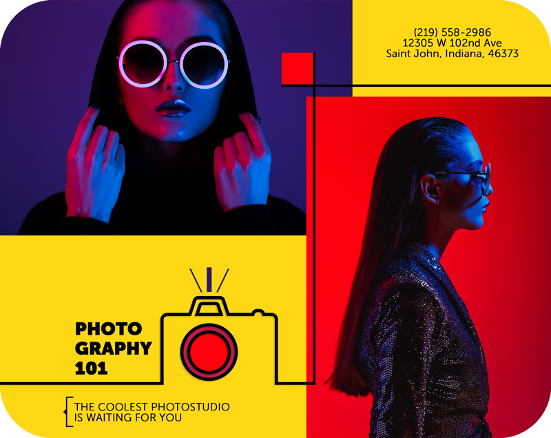image of a girl wearing neon sunglasses on a photostudio brochure template
