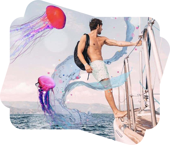 man on the boat with meduza stickers
