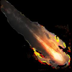 comet flaming meteor smoke