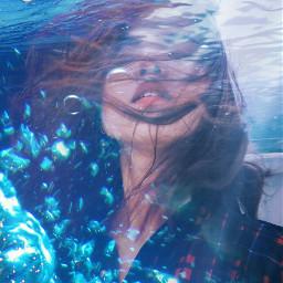 freetoedit water bubbles lady sea