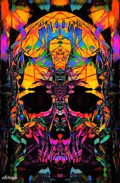 skull popart psychedelic retro vintage