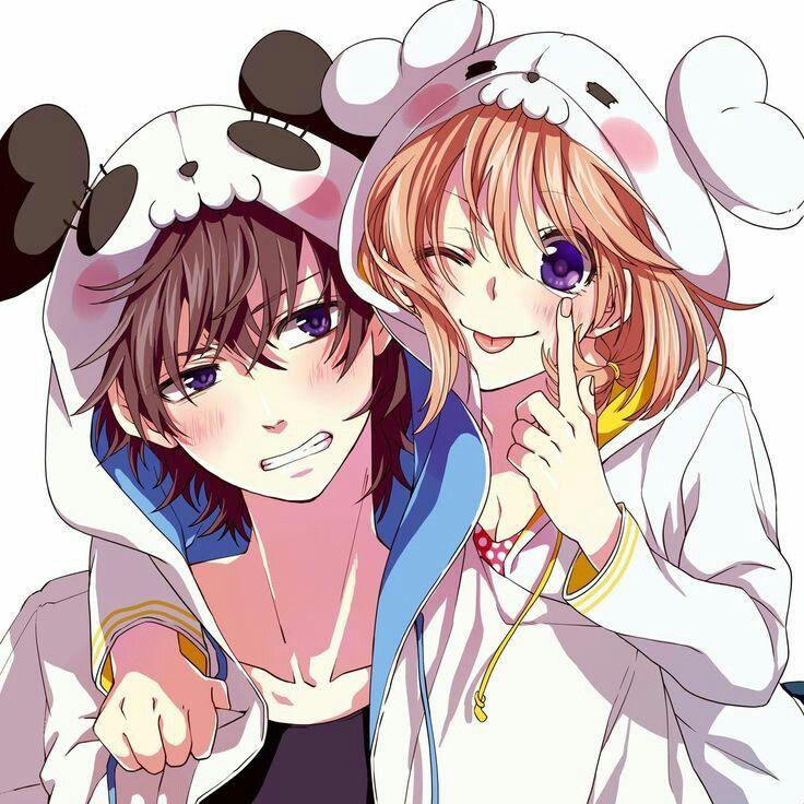 Anime Girl Boy Couple Sweet Colorful