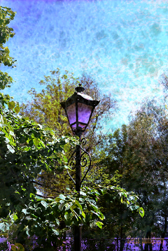 cityscape streetlamp tree beach colorful