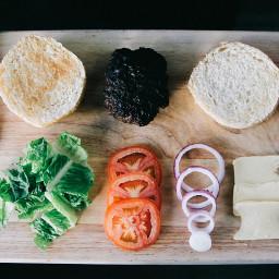 freetoedit burger hands onion tomato