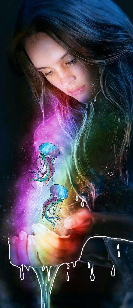 #FreeToEdit #rainbowcolors #rainbowlight #rainbowlightcontest #jellyfish