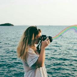 freetoedit rainbow girl sea colors
