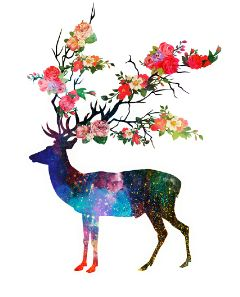 deer flowers surreality dreaming colorful
