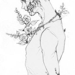 flowers aesthetic blackandwhite greyscale manga