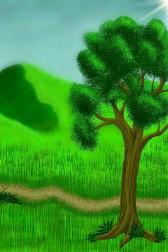 drawing green tree landscape tq