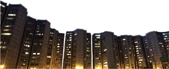 city lights buildings night urban