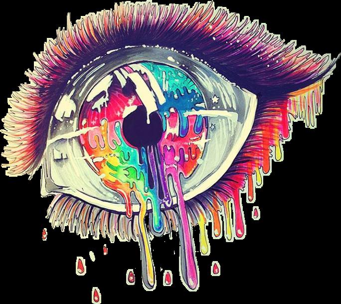 Ojo Lagrima Colores Triste Mirada Ojos