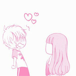 art cutie anime girlandboy blackandwhite