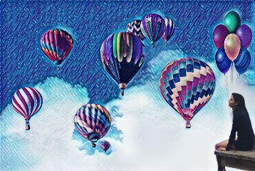 freetoedit balloon galaxymagiceffect hotairballoon