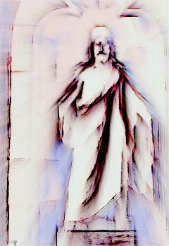 freetoedit statue ruins jesus pencilart