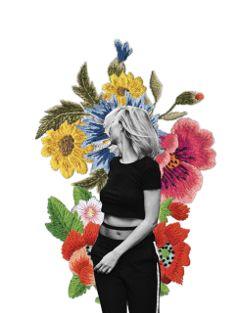 flowers cutout girl bw fashion