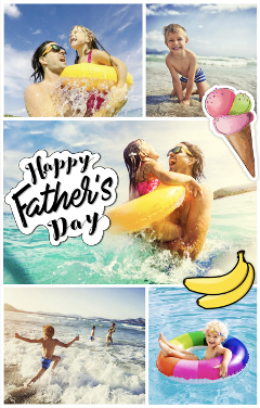 father kids sunny beach fun