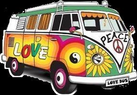 bus volkswagen hippie peace 60sstickers