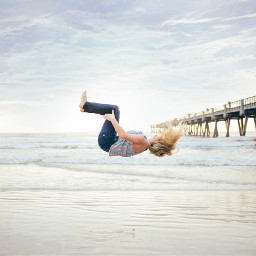 FreeToEdit girl jump hair people beach bridge