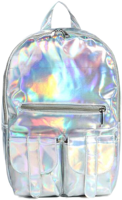 silver holographic silverholographic backpack freetoedit