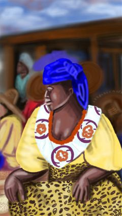 painting drawing african market