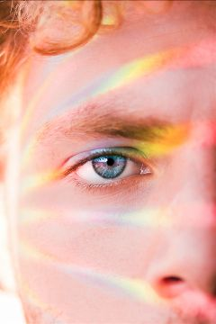 freetoedit blue eyes rainbow face