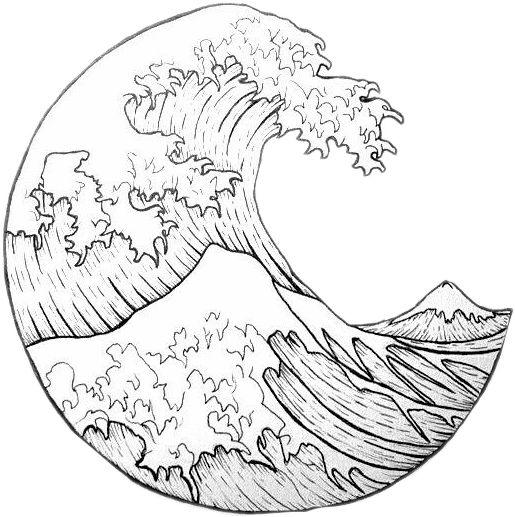 #moon #waves #outlines #outline #water #nature