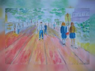 freetoedit watercolor people street