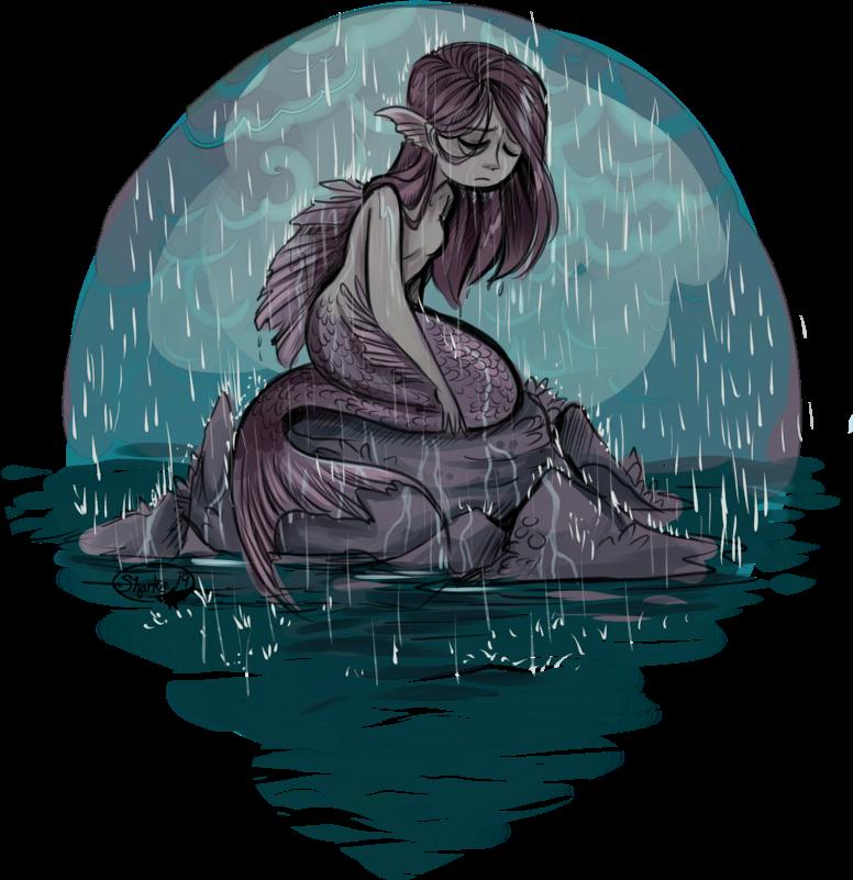 #mermaid #water #sea #sad #girl #rain