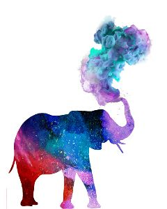 elephant silhouette colorful colorsmoke oilpaintingeffect