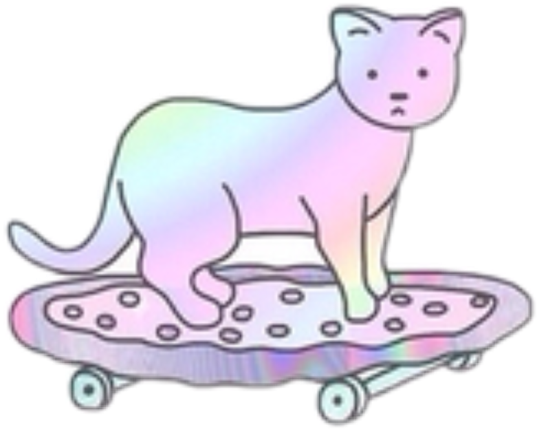 #cat #pizza #skate #pink #olographic #tumblr #cute #interesting #remixit