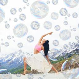 freetoedit bubbles girl yoga yogaremix