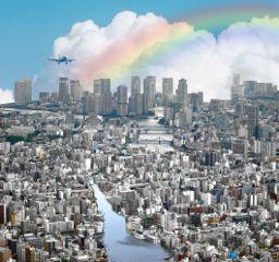 freetoedit landscape city rainbow airplane