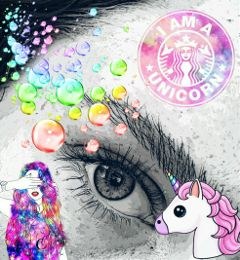 colorful cute unicorn eyes freetoedit
