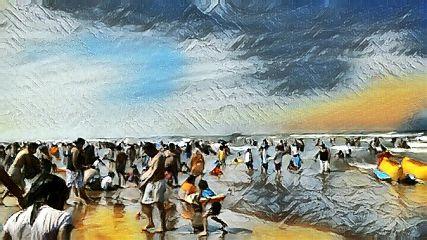 beach colorful nature pencilart