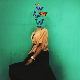 freetoedit butterflies lady portrait greenwall