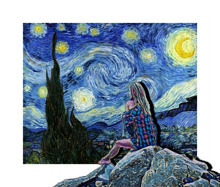 The Starry Night famous painting by Vincent van Gogh and @andreeamaria6 #smashups#madewithpicsart #drawtools #magiceffect #border #editstepbystep #lay