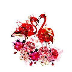 red oilpaintingeffect watercolors flamingos lovers
