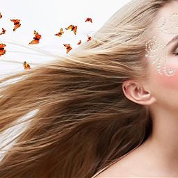 freetoedit butterflies girl beautiful