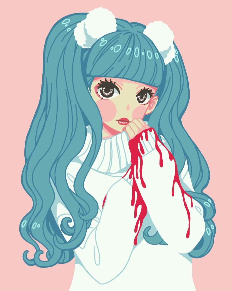 anime manga pastel pastelgoth kawaii girl aesthetic blu...