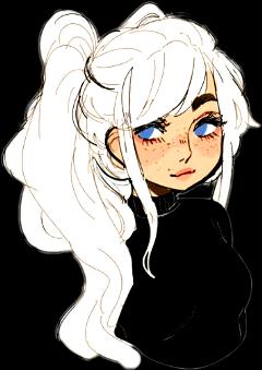 girl platinum hair draw freetoedit